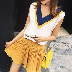 Hanaya - Plain Pleated Skirt/Shorts