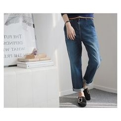 demavie - Washed Straight-Cut Jeans