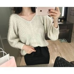 Marlangrouge - V-Neck Rib-Knit Sweater