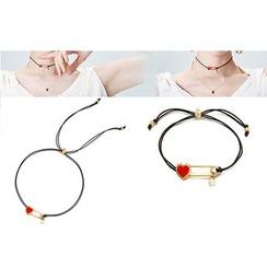 Dollu - Faux Pearl Heart Choker/ Bracelet