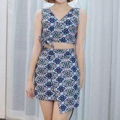 Sweet Splash - Set: Patterned Tankini + Skirt