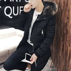 Bay Go Mall - Furry Trim Hooded Down Coat