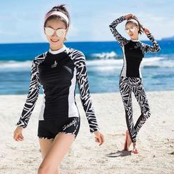 Thein - Zebra Print Rashguard / Swim Shorts / Swim Pants
