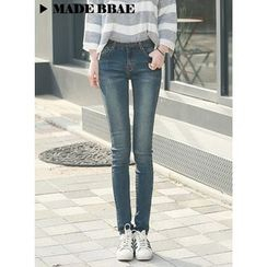 BBAEBBAE - Stitched Straight-Cut Jeans