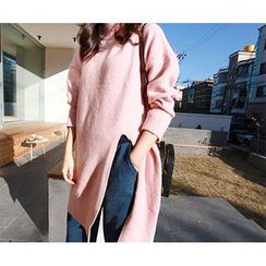 MARSHMALLOW - Mock-Neck Slit-Front Long Knit Top