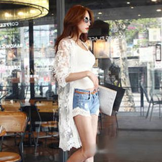 Fashion Street - Lace Panel Long Cardigan