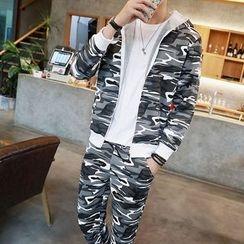 Danjieshi - Set: Camouflage Zip Hoodie + Sweatpants