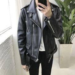 MPstudios - Faux-Leather Zip Jacket