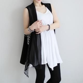 GLAM12 - Stripe Panel Open-Front Chiffon Vest