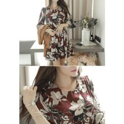 MyFiona - Cutout-Neck Drawstring-Waist Floral Pattern Dress