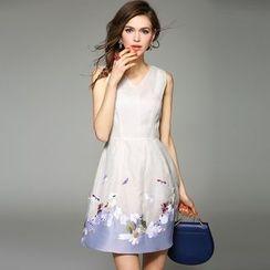 洛圖 - 刺繡無袖連衣裙