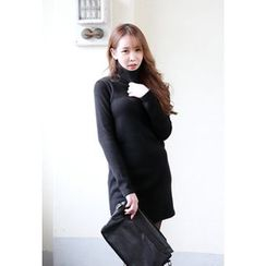 Dalkong - Turtle-Neck Long-Sleeve Mini Dress