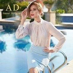 Aision - Long-Sleeve Shirred Blouse