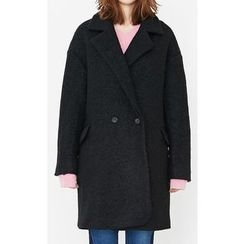 Someday, if - Double-Breasted Wool Blend Bouclé Coat