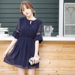 Tokyo Fashion - Crochet Trim Chiffon Dress