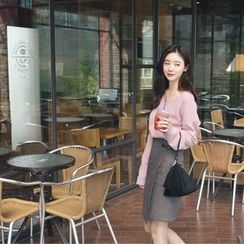 mimi&didi - Wrap-Front Plaid Wool Blend Skirt
