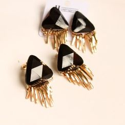 HayHill - Fringed Triangle Stud Earrings / Clip-On Earrings