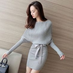 Reis - 蝙蝠袖罗纹针织裙