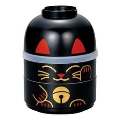 Hakoya - Hakoya Kokeshi 2 Layers Lunch Box Lucky Cat Black