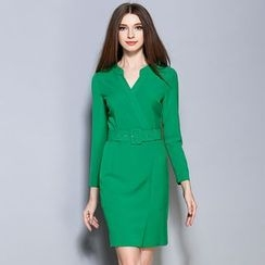 Cherry Dress - Long-Sleeve V-neck Sheath Dress