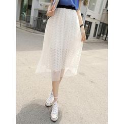 BBAEBBAE - Tulle-Overlay Lace Midi Pleated Skirt