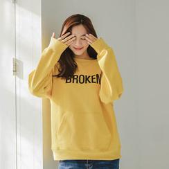 JUSTONE - Lettering Kangaroo-Pocket Sweatshirt