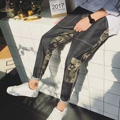 Soulcity - Camouflage Panel Straight-Cut Jeans