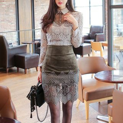 Aurora - Lace Panel Pencil Skirt