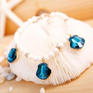 Crystal Seashell-Charm Beaded Bracelet