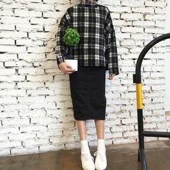 MePanda - 格子小高領套衫