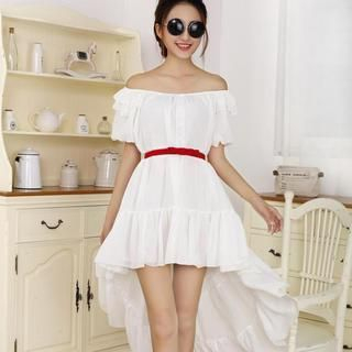 JVL - Dip-Back Belted Ruffled Chiffon Dress