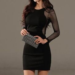 Aurora - Mesh-Sleeve Sheath Dress