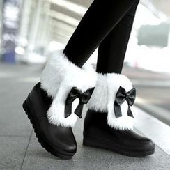 JY Shoes - Bow Accent Faux-Fur Trim Snowboots