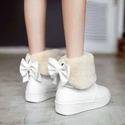 Pastel Pairs - Bow Fleece-lined Snow Boots