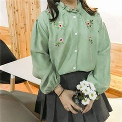 MePanda - Flower Embroidered Frill Collar Shirt