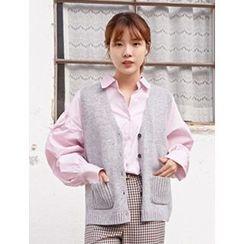 FROMBEGINNING - V-Nek Button Knit Vest