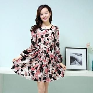 Aierys - Long-Sleeve Printed A-Line Chiffon Dress