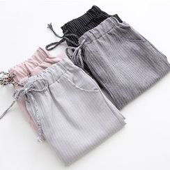 PANDAGO - Striped Drawstring Pants