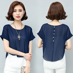 Fancy Show - Mock Two Piece Short-Sleeve Layered Top