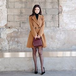 chuu - Wide-Lapel Double-Breasted A-Line Coat