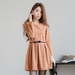 Tokyo Fashion - Long-Sleeve Bow-Accent Pleated Dress
