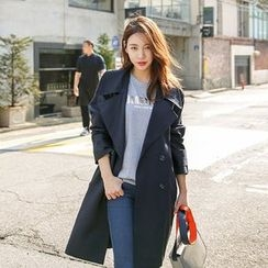 Seoul Fashion - Wide-Lapel Double-Breasted Trench Coat
