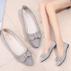 Raylove - Pointy Toe Bow-Accent Flats