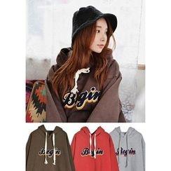 GOROKE - Hooded Zip-Hem Lettering-Embroidered Pullover