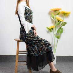 PopCult - 網紗下擺碎花雪紡吊帶裙