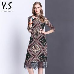 Y:Q - Lace Hem Patterned Sheath Dress