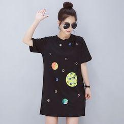 VIZZI - 貼布繡短袖T恤連衣裙