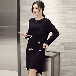 Romantica - Wool Blend Applique Long Sweater