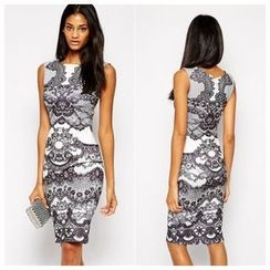 Persephone - Print Sleeveless Sheath Dress