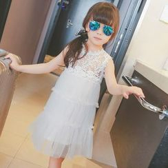 Lemony dudu - Kids Sleeveless Lace Panel Sheer Dress